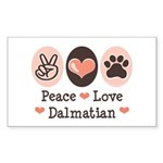 Peace Love Dalmatian Rectangle Sticker