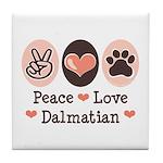 Peace Love Dalmatian Tile Coaster