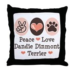 Peace Love Dandie Terrier Throw Pillow