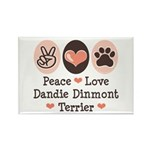 Peace Love Dandie Terrier Rectangle Magnet (10 pac