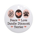 Peace Love Dandie Terrier Ornament (Round)