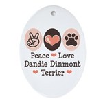 Peace Love Dandie Terrier Oval Ornament