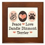 Peace Love Dandie Terrier Framed Tile