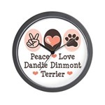 Peace Love Dandie Terrier Wall Clock