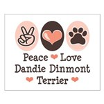 Peace Love Dandie Terrier Small Poster