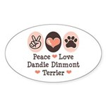 Peace Love Dandie Terrier Oval Sticker