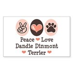 Peace Love Dandie Terrier Rectangle Sticker