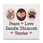 Peace Love Dandie Terrier Tile Coaster
