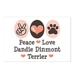 Peace Love Dandie Terrier Postcards (Package of 8)