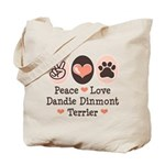 Peace Love Dandie Terrier Tote Bag