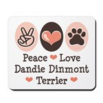 Peace Love Dandie Terrier Mousepad
