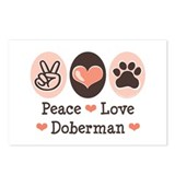 Peace Love Doberman Pinscher Postcards 8 Pack