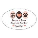 Peace Love English Cocker Spaniel Oval Sticker