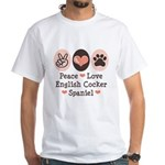 Peace Love English Cocker Spaniel White T-Shirt