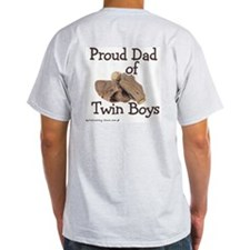 Proud Dad of Twin Boys Baseball Ash Grey T-Shirt