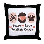Peace Love English Setter Throw Pillow
