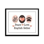 Peace Love English Setter Framed Panel Print