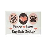 Peace Love English Setter Rectangle Magnet (100 pa