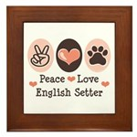 Peace Love English Setter Framed Tile