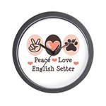 Peace Love English Setter Wall Clock