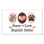Peace Love English Setter Rectangle Sticker