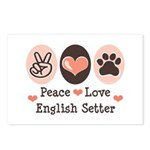 Peace Love English Setter Postcards (Package of 8)