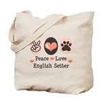 Peace Love English Setter Tote Bag