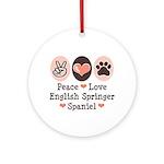 Peace Love Springer Spaniel Ornament (Round)