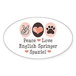 Peace Love Springer Spaniel Oval Sticker