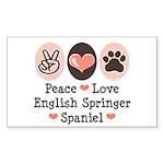 Peace Love Springer Spaniel Rectangle Sticker