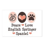 Peace Love Springer Spaniel Postcards (Package of