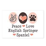 Peace Love Springer Spaniel Postcards (Package of