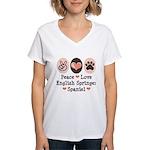 Peace Love Springer Spaniel Women's V-Neck T-Shirt