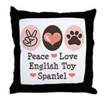 Peace Love Toy Spaniel Throw Pillow