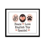 Peace Love Toy Spaniel Framed Panel Print