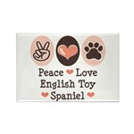 Peace Love Toy Spaniel Rectangle Magnet