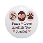 Peace Love Toy Spaniel Ornament (Round)