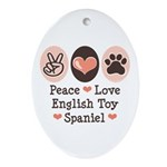 Peace Love Toy Spaniel Oval Ornament