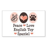 Peace Love Toy Spaniel Rectangle Sticker