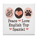 Peace Love Toy Spaniel Tile Coaster