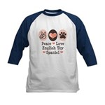 Peace Love Toy Spaniel Kids Baseball Jersey