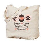Peace Love Toy Spaniel Tote Bag