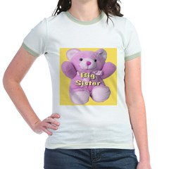 Big Sister Pink Teddy Bear Jr. Ringer T-Shirt