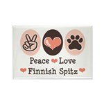 Peace Love Finnish Spitz Rectangle Magnet (100 pac