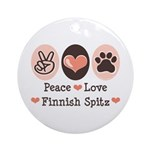 Peace Love Finnish Spitz Ornament (Round)