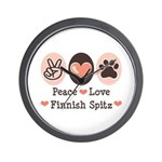 Peace Love Finnish Spitz Wall Clock