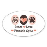Peace Love Finnish Spitz Oval Sticker