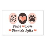 Peace Love Finnish Spitz Rectangle Sticker