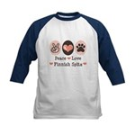 Peace Love Finnish Spitz Kids Baseball Jersey