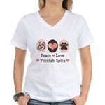 Peace Love Finnish Spitz Women's V-Neck T-Shirt